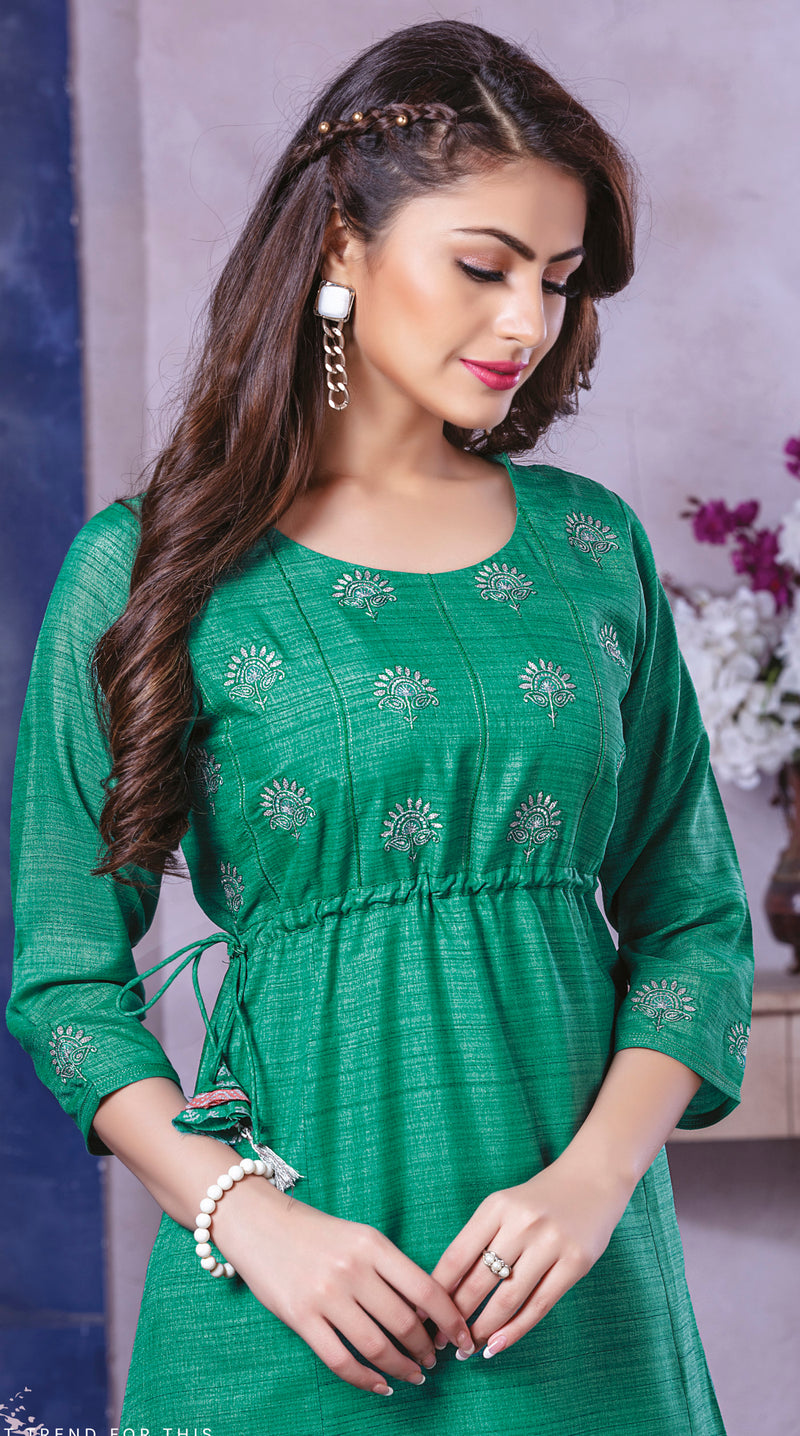 Green Color Art Silk Beautiful Party Wear Kurtis NYF-5518