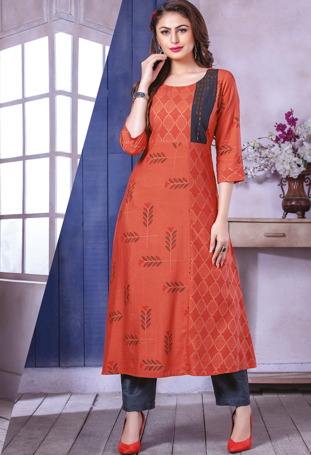 Rust Orange Color Rayon Beautiful Party Wear Kurtis NYF-5522