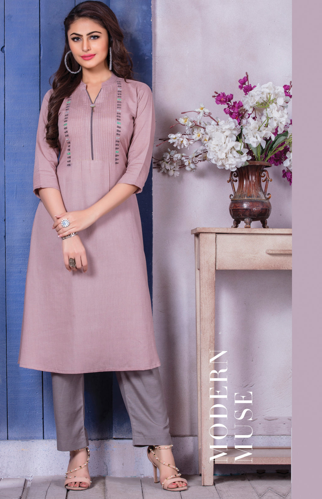 Lavender Color Soft Cotton Beautiful Party Wear Kurtis NYF-5526