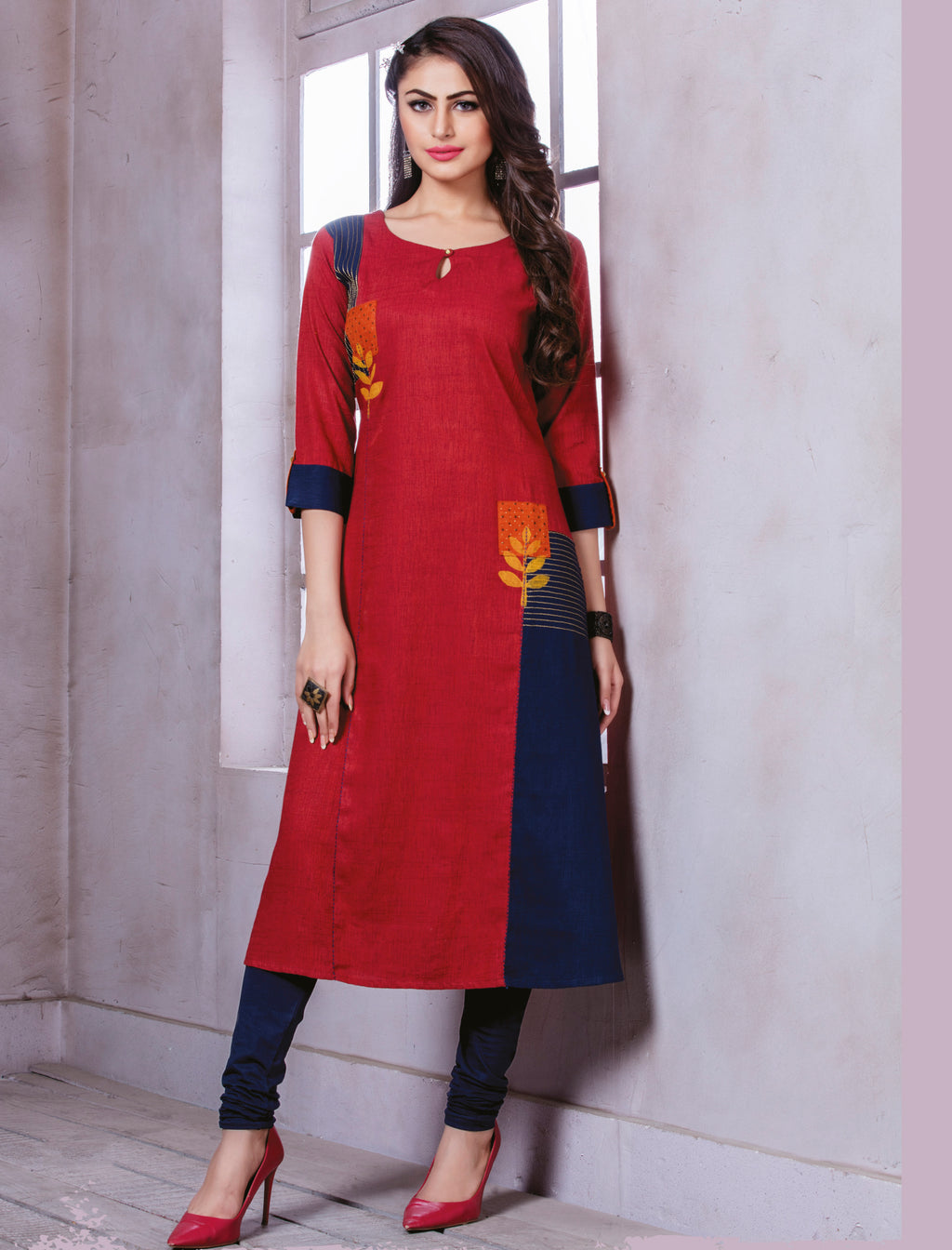 Red Color Rayon Beautiful Party Wear Kurtis NYF-5530