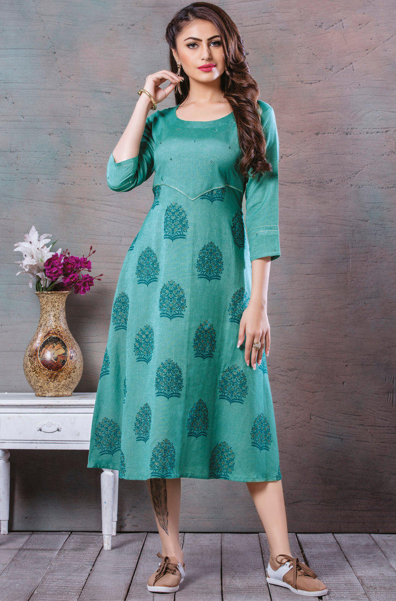 Sea Green Color Cotton Splendid Party Wear Kurtis NYF-5438