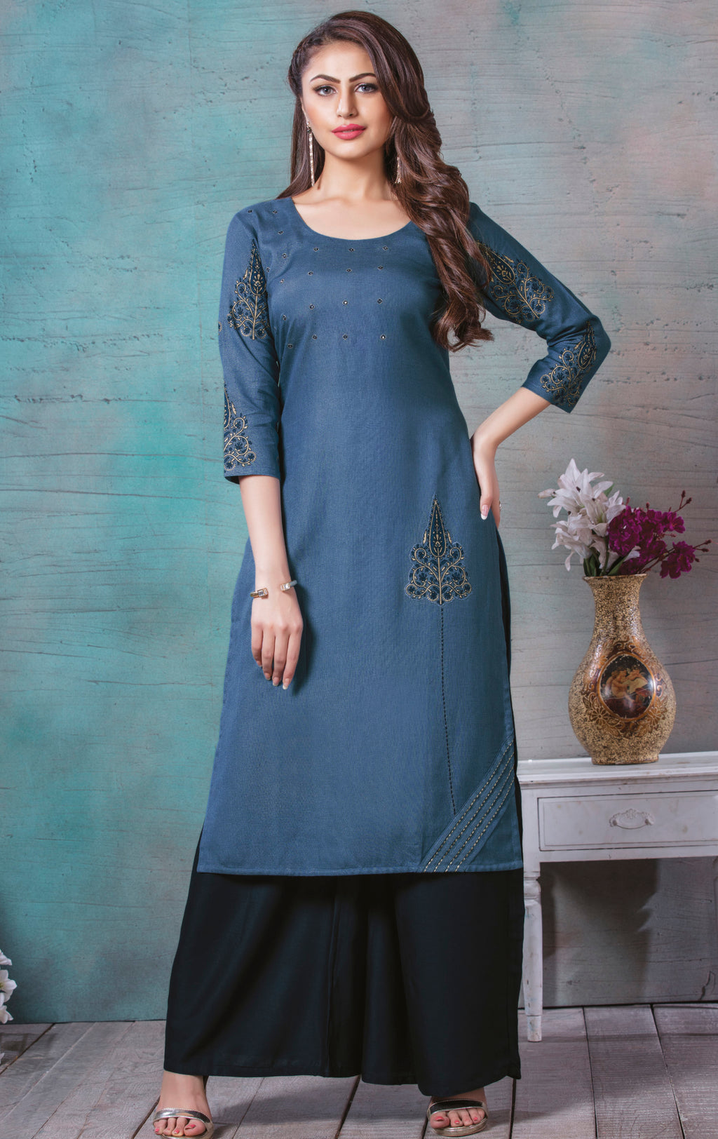 Blue Color Rayon Cotton Splendid Party Wear Kurtis NYF-5442