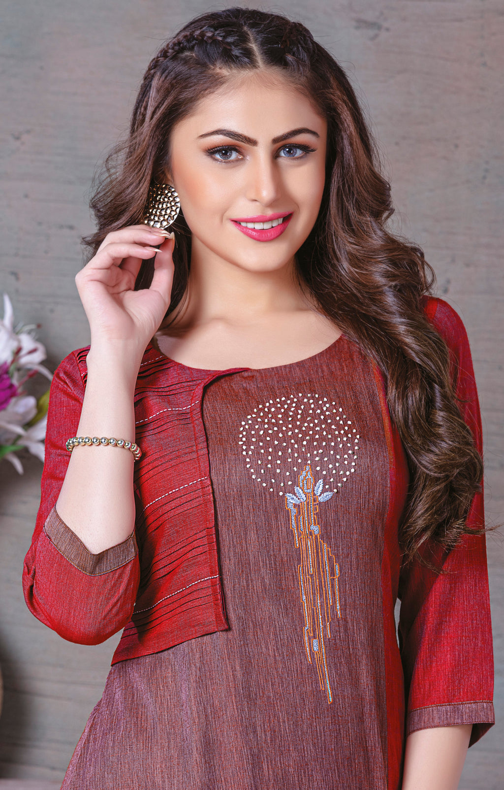 Maroon Color Rayon Splendid Party Wear Kurtis NYF-5450
