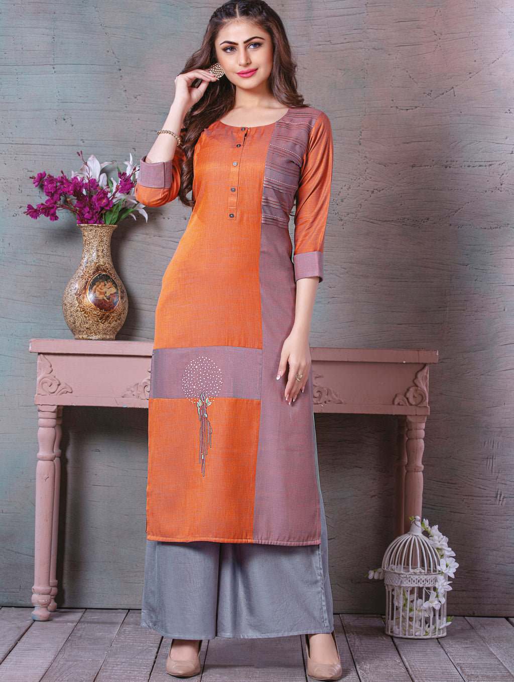 Orange Color Rayon Splendid Party Wear Kurtis NYF-5454