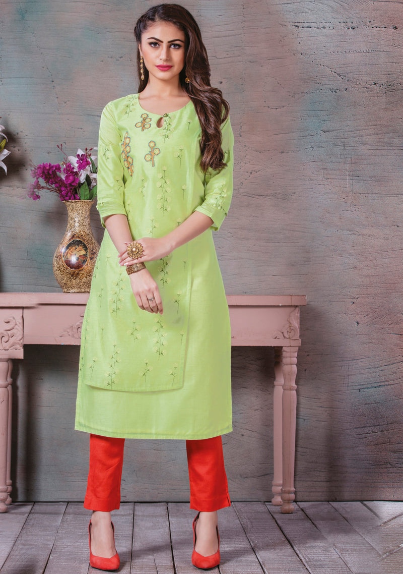 Pastel Green Color Cotton Silk Splendid Party Wear Kurtis NYF-5458