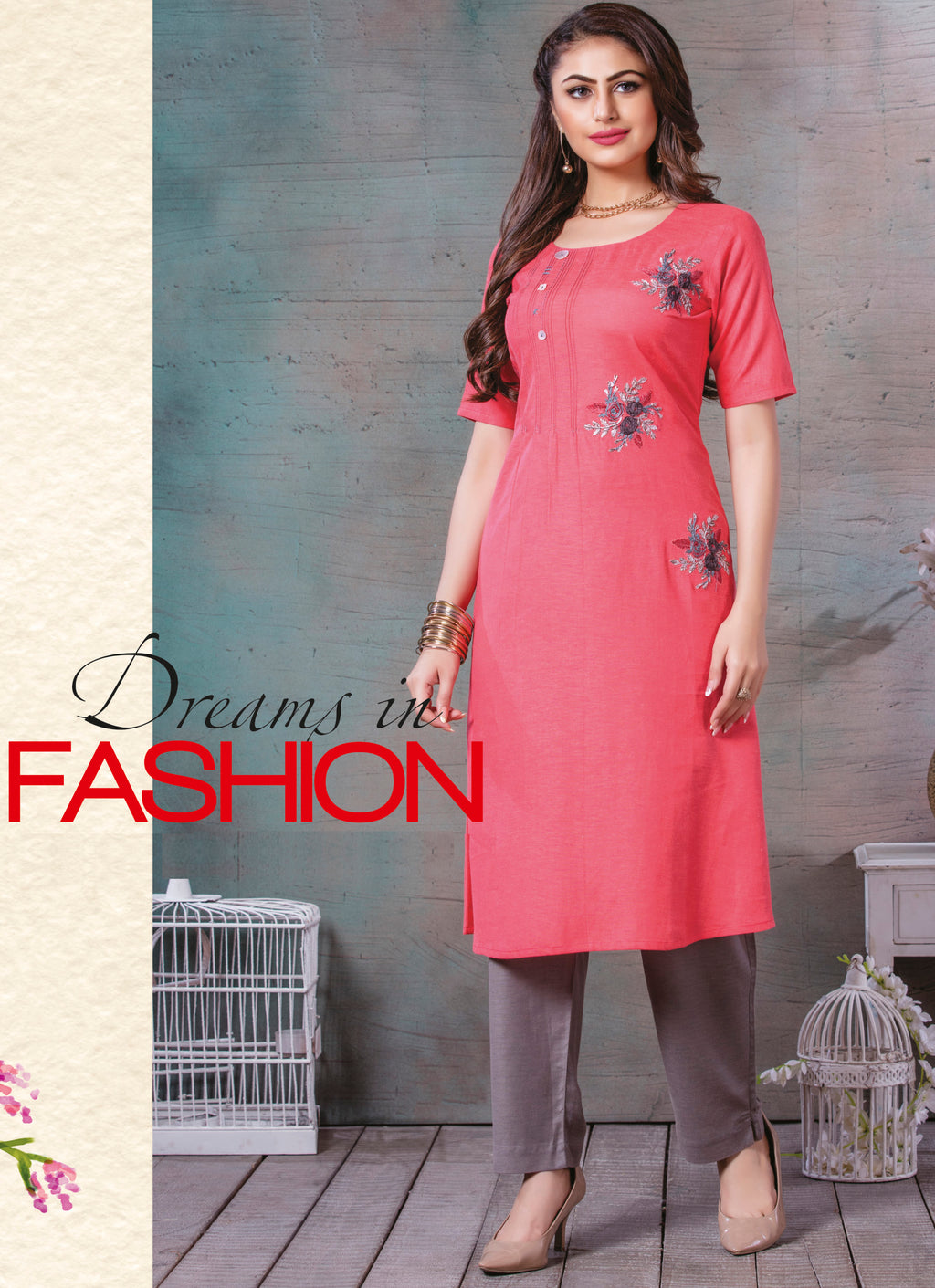 Pink Color Rayon Cotton Splendid Party Wear Kurtis NYF-5462