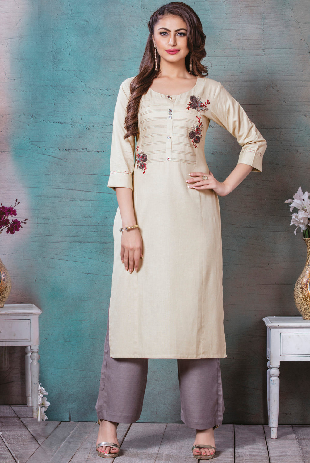 Cream Color Rayon Cotton Splendid Party Wear Kurtis NYF-5466