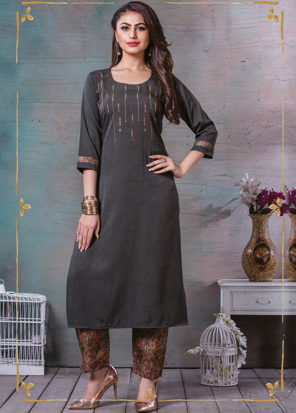 Grey Color Cotton Slub Splendid Party Wear Kurtis NYF-5470