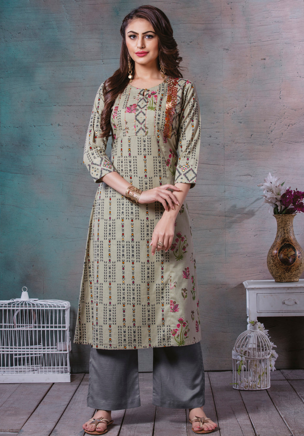 Light Olive Green Color Rayon Cotton Splendid Party Wear Kurtis NYF-5474