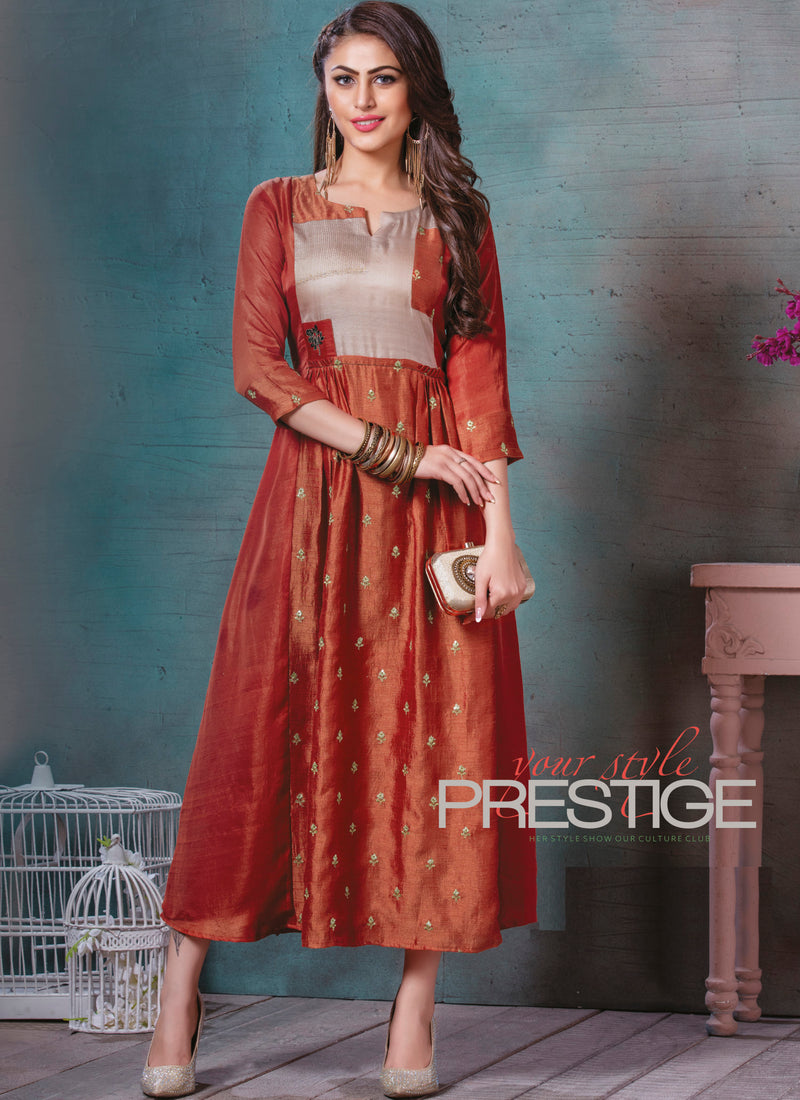 Rust Orange Color Art Silk Splendid Party Wear Kurtis NYF-5478