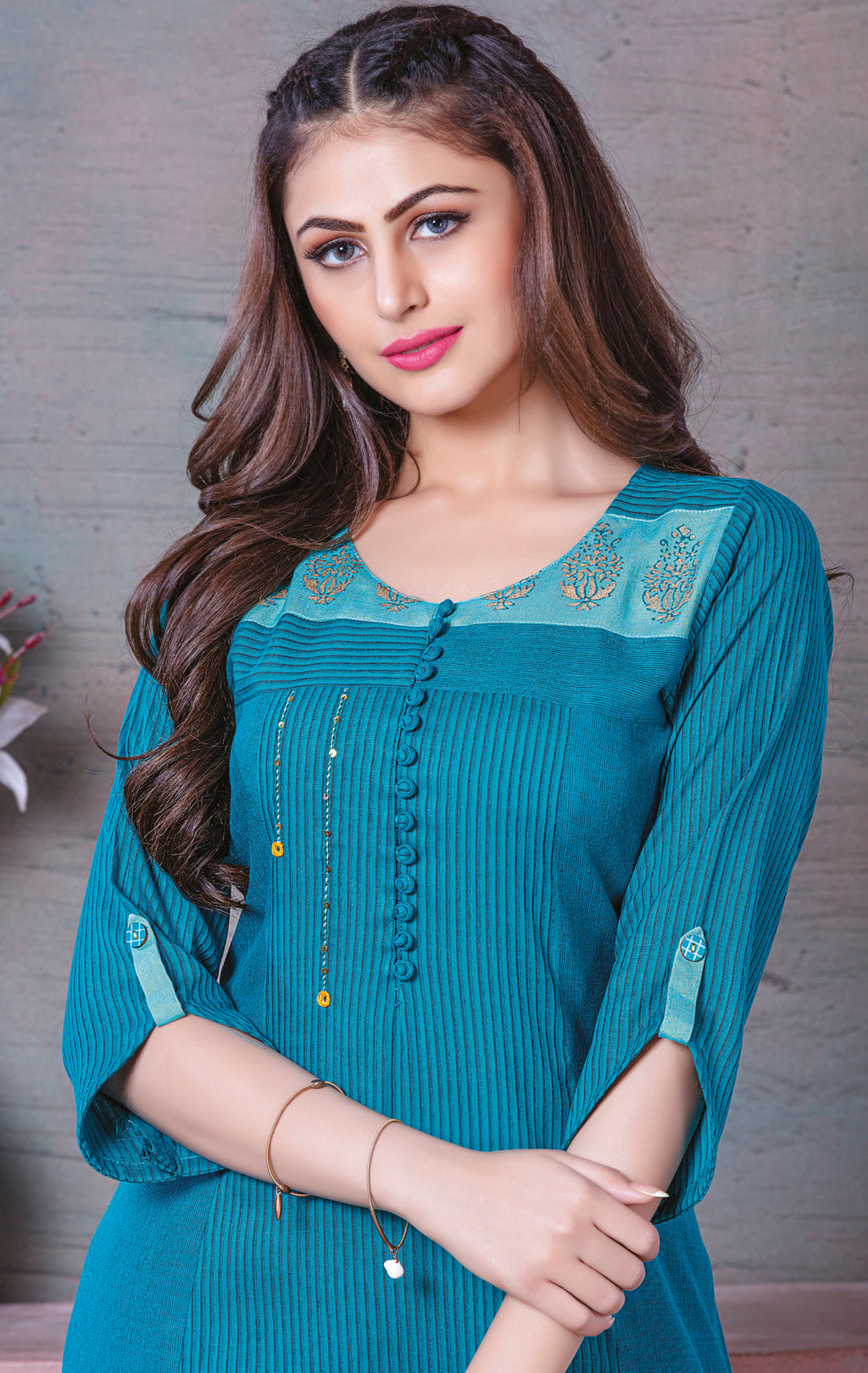 Blue Color Rayon Splendid Party Wear Kurtis NYF-5486