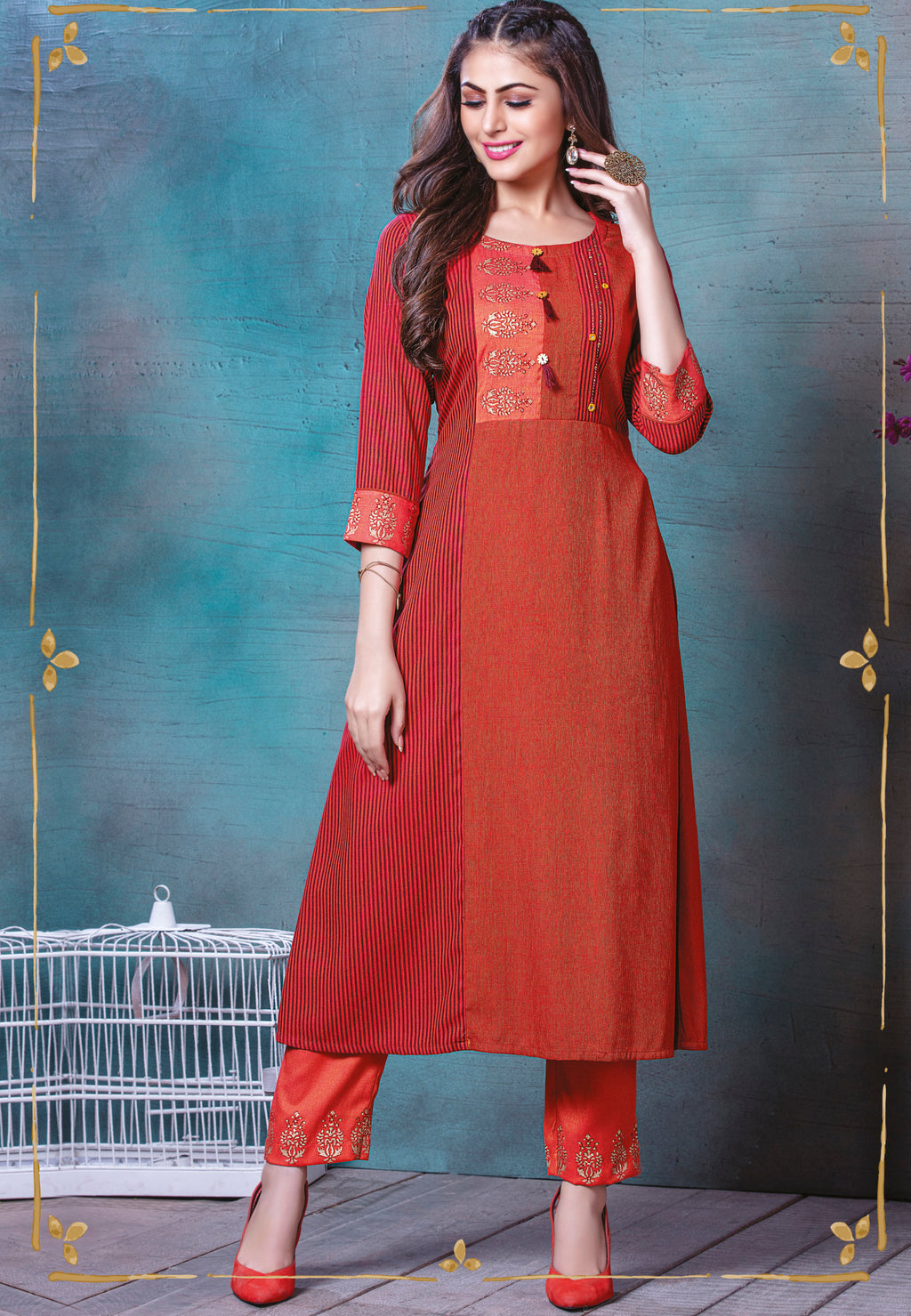 Red Color Rayon Splendid Party Wear Kurtis NYF-5490