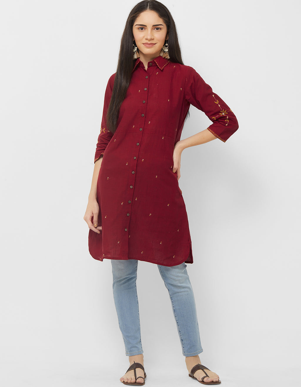 Maroon Color Cotton Readymade Office Wear Kurtis NYF-5386
