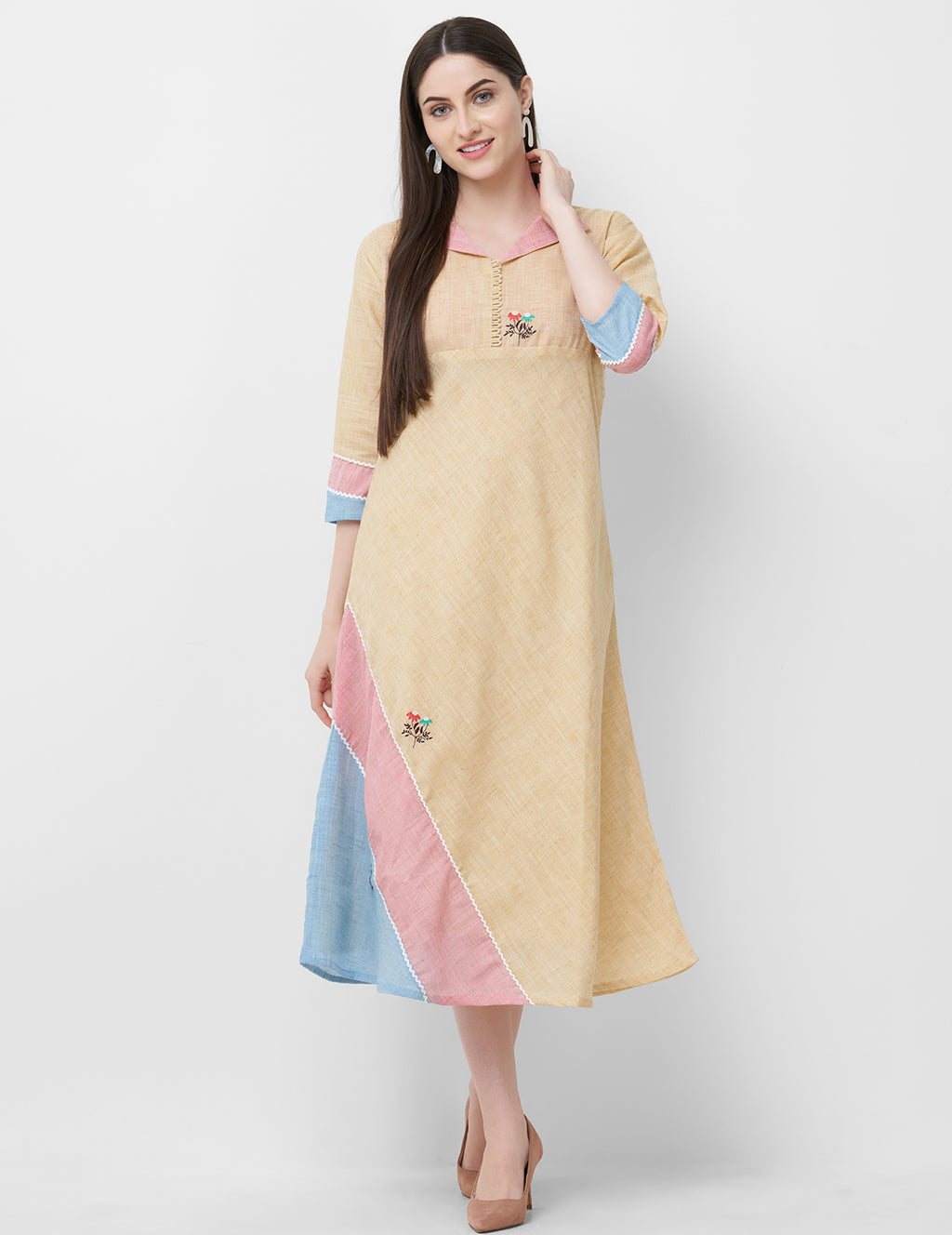 Cream Color Linen Readymade Office Wear Kurtis NYF-5390