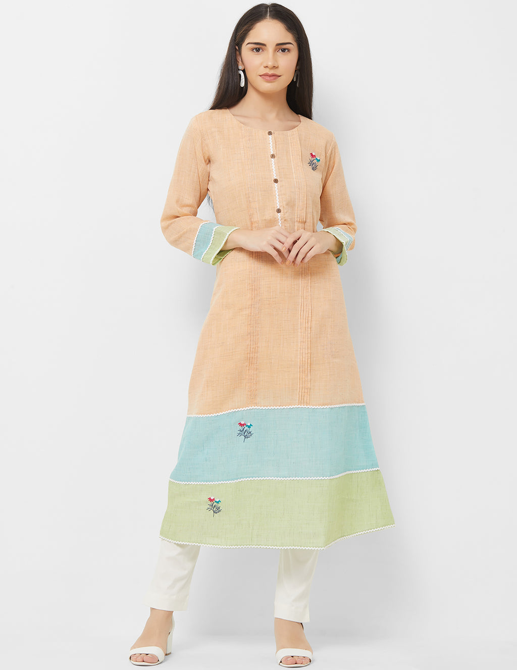 Beige Color Linen Readymade Office Wear Kurtis NYF-5394