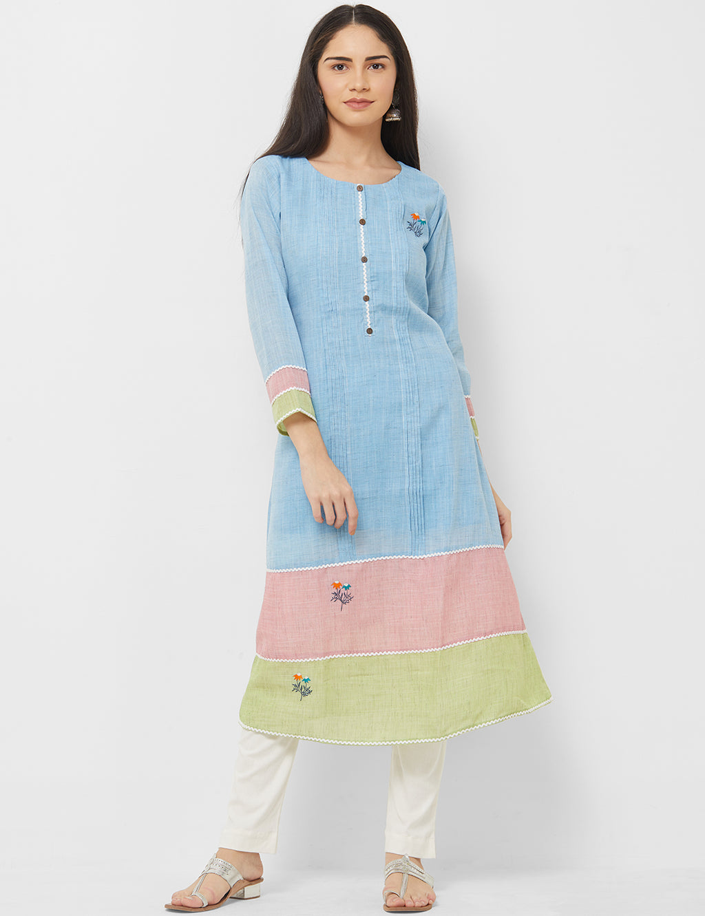 Sky Blue Color Linen Readymade Office Wear Kurtis NYF-5398