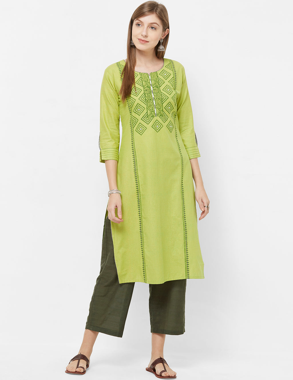 Green Color Cotton Readymade Office Wear Kurtis NYF-5402