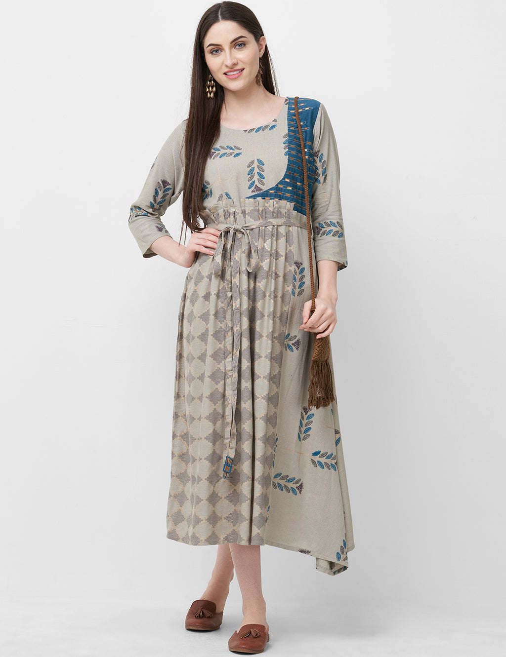 Grey Color Rayon Readymade Office Wear Kurtis NYF-5406