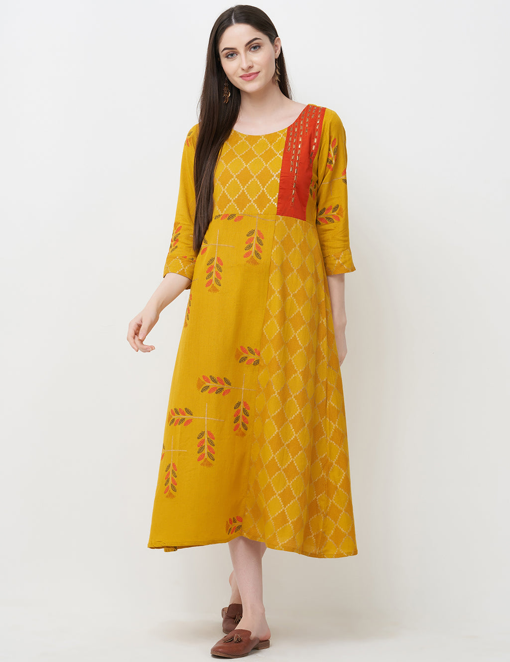 Yellow Color Rayon Readymade Office Wear Kurtis NYF-5410