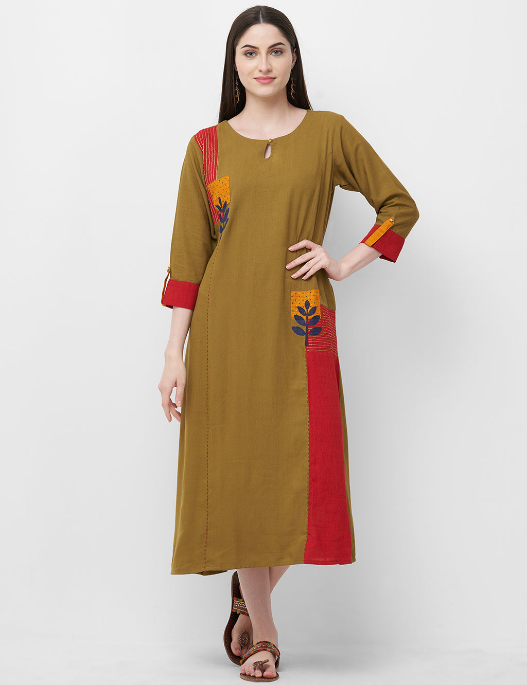 Brown Color Rayon Readymade Office Wear Kurtis NYF-5414
