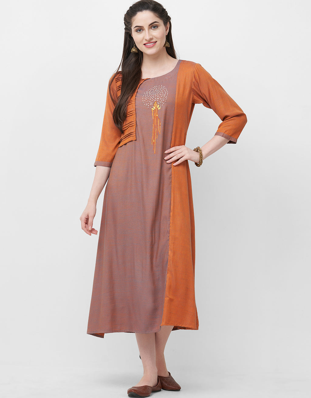 Orange Color Rayon Readymade Casual Party Kurtis NYF-5422