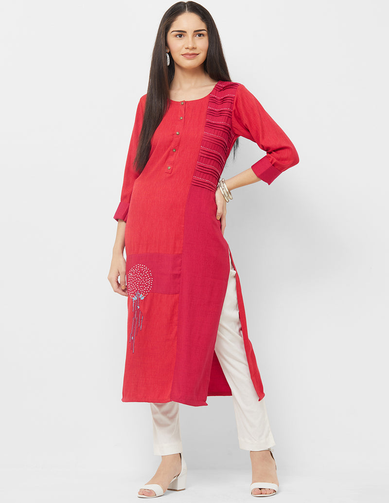 Red Color Rayon Readymade Casual Party Kurtis NYF-5426