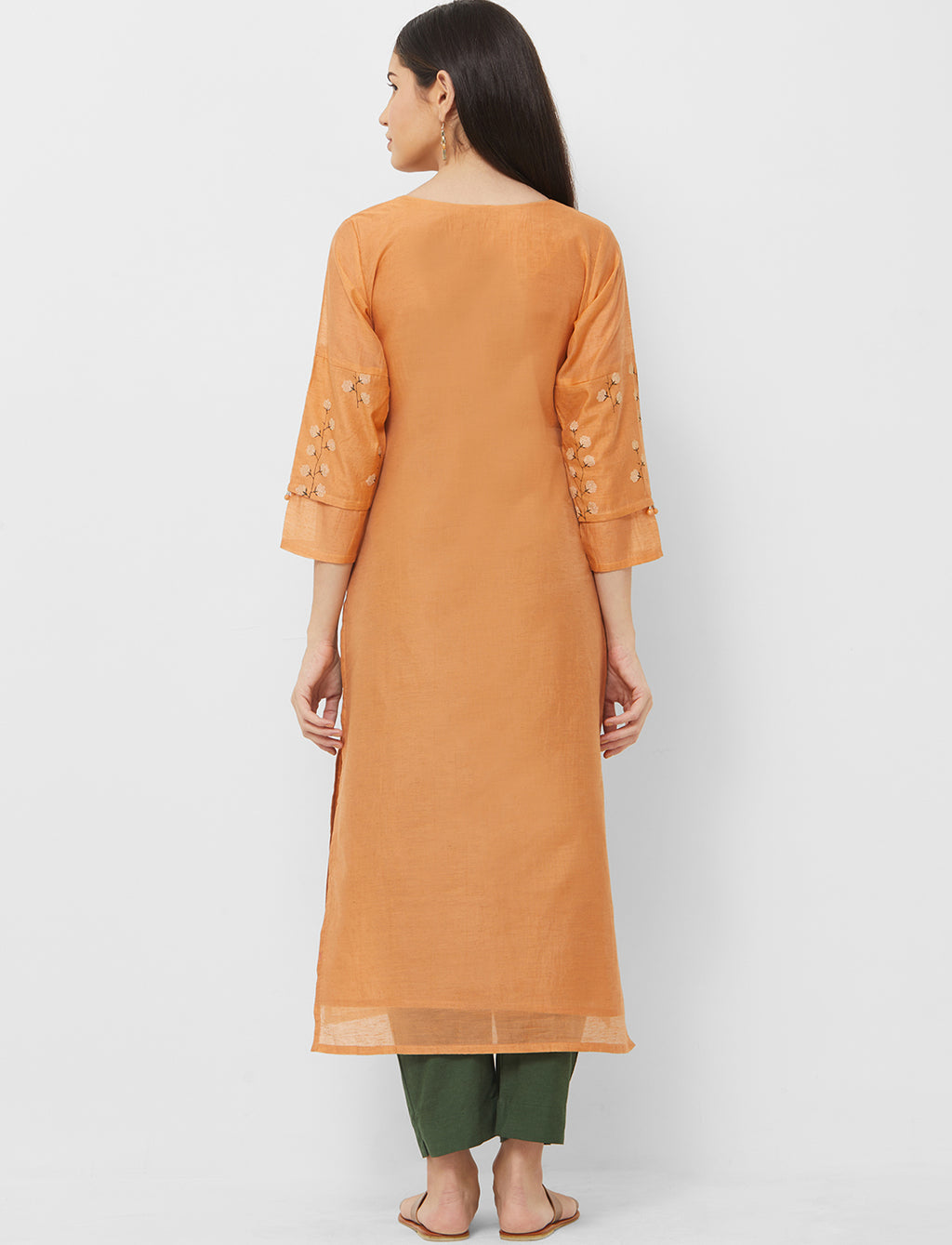 Light Orange Color Cotton Readymade Casual Party Kurtis NYF-5430