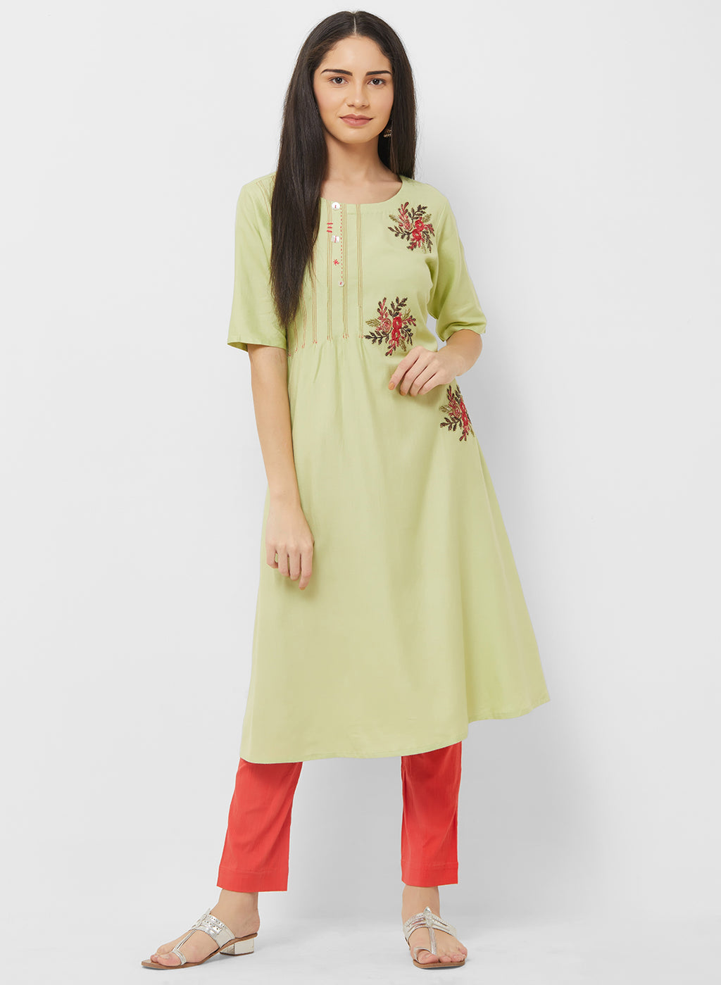 Pastel Green Color Soft Cotton Readymade Casual Party Kurtis NYF-5434