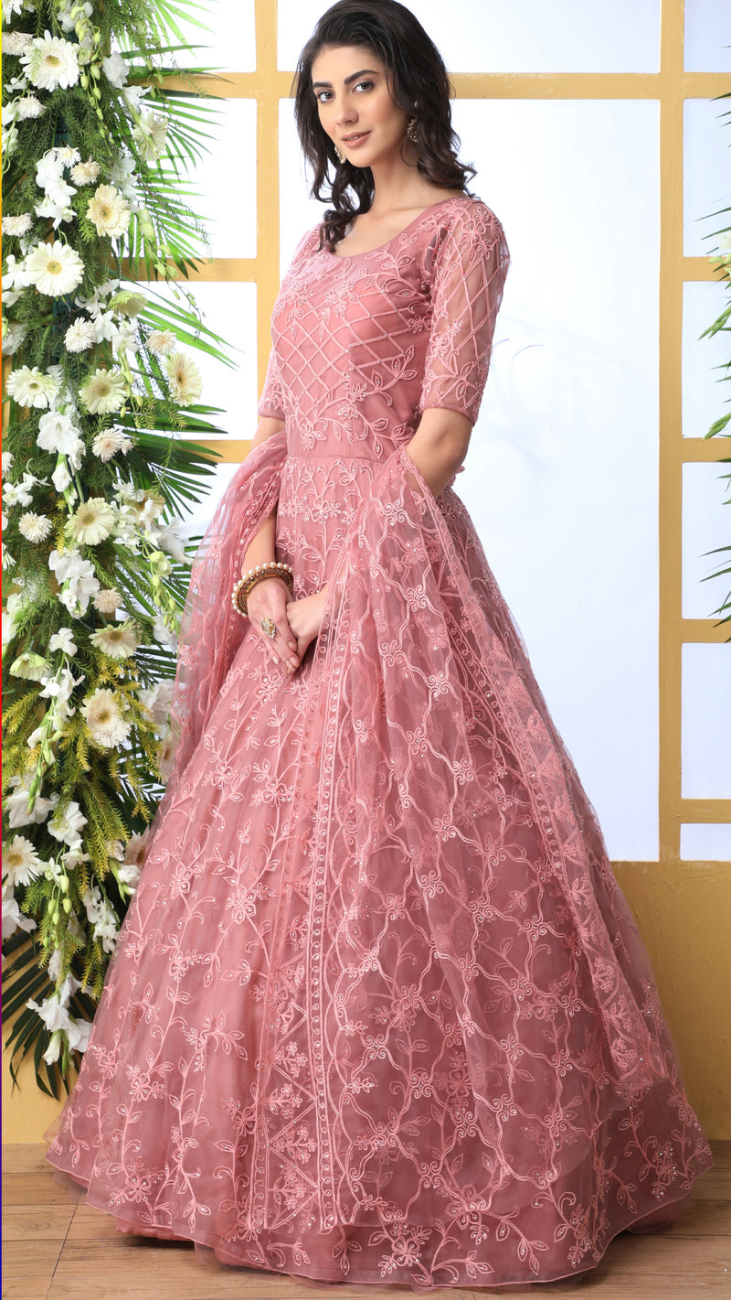 Pink Color Net Semi-Stitched Gowns With Dupatta NYF-7224