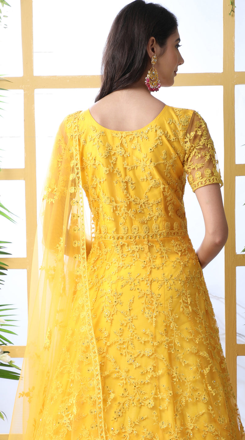 Yellow Color Net Semi-Stitched Gowns With Dupatta NYF-7225