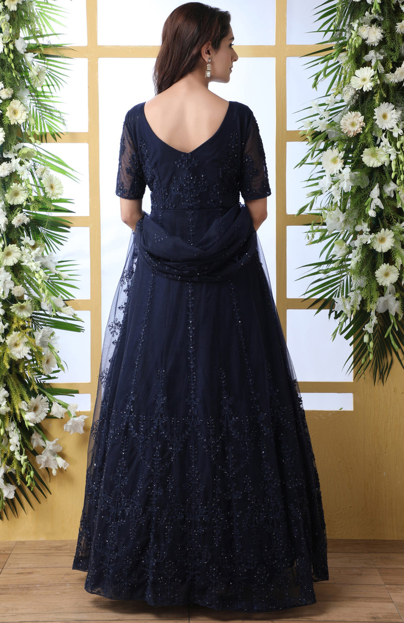 Navy Blue Color Net Semi-Stitched Gowns With Dupatta NYF-7226