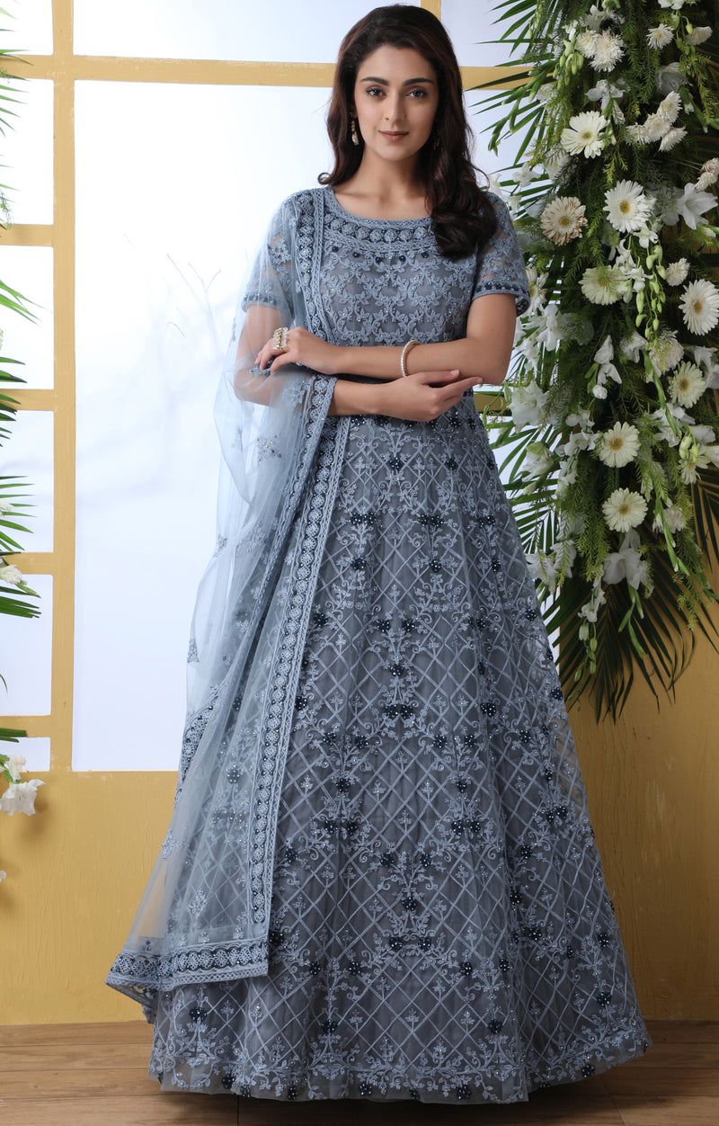Grey Color Net Semi-Stitched Gowns With Dupatta NYF-7227