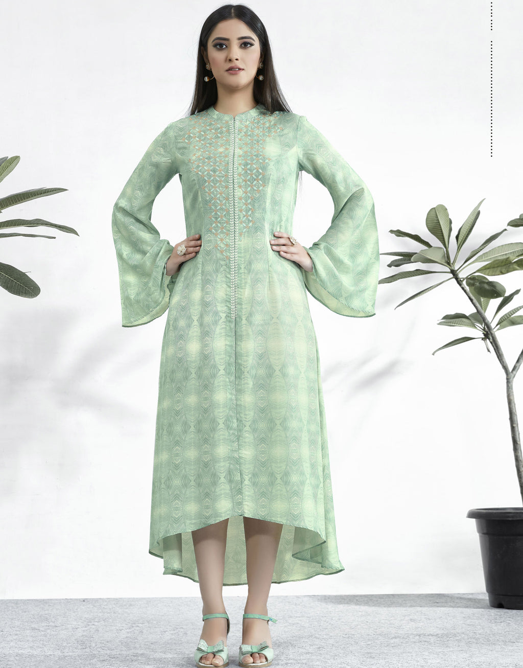 Pastel Green Color Muslin Embroidered Digital Print Kurtis NYF-5652