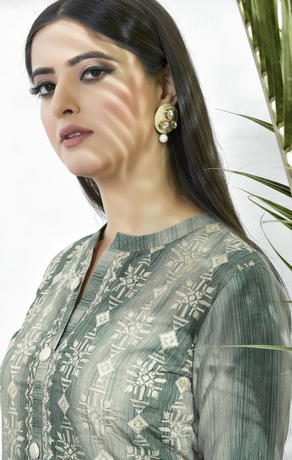 Grey Color Muslin Embroidered Digital Print Kurtis NYF-5655