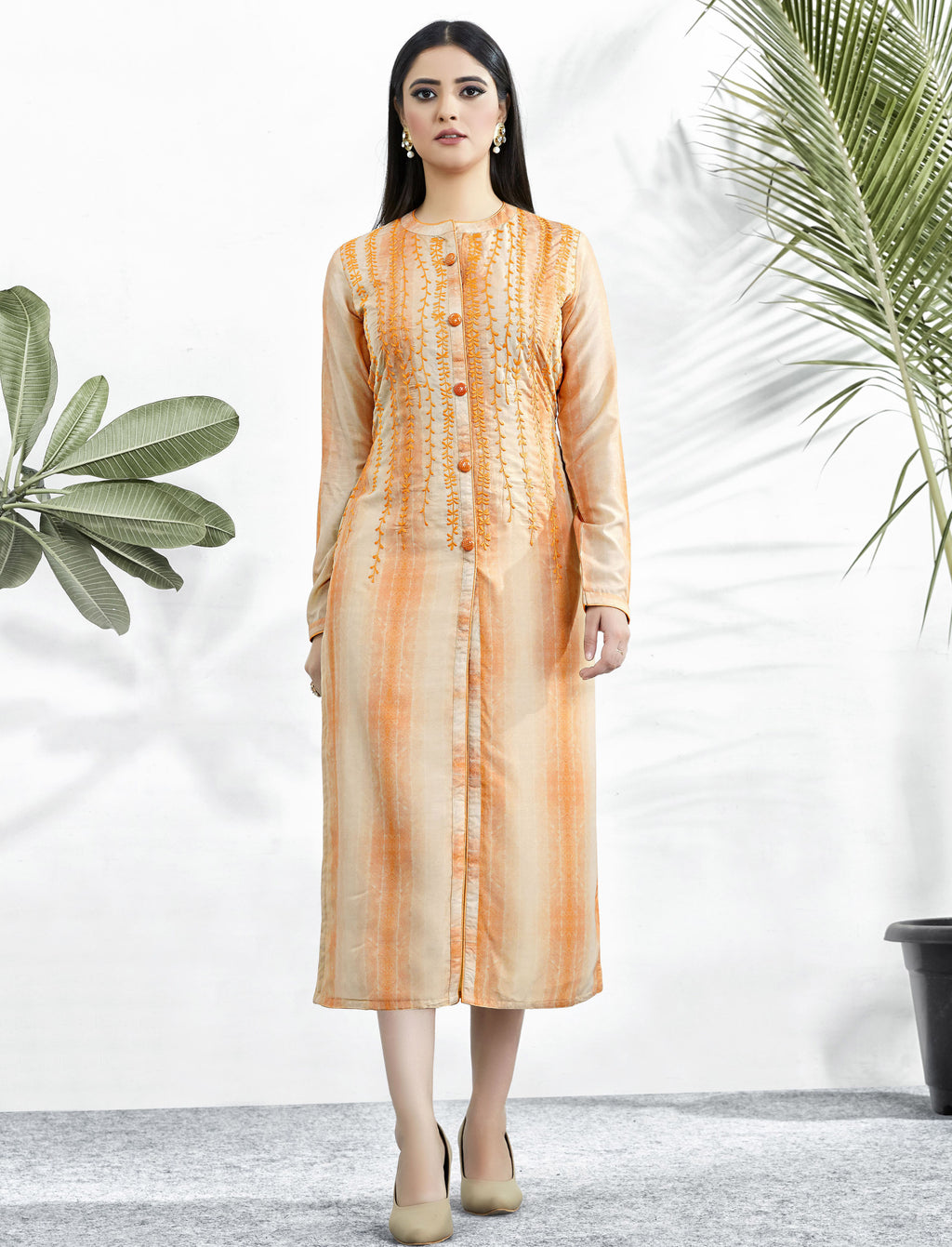Orange Color Muslin Embroidered Digital Print Kurtis NYF-5658