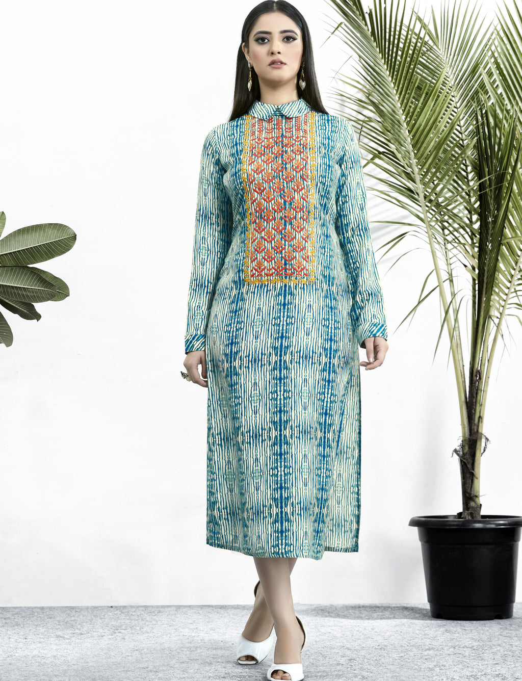 Blue Color Muslin Embroidered Digital Print Kurtis NYF-5661