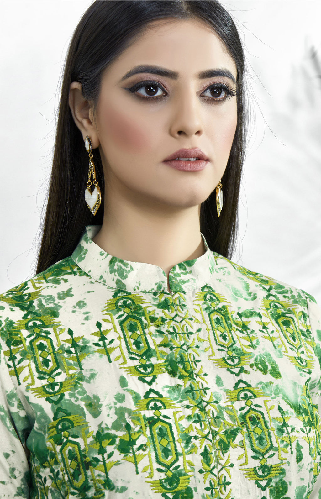 Green Color Muslin Embroidered Digital Print Kurtis NYF-5664