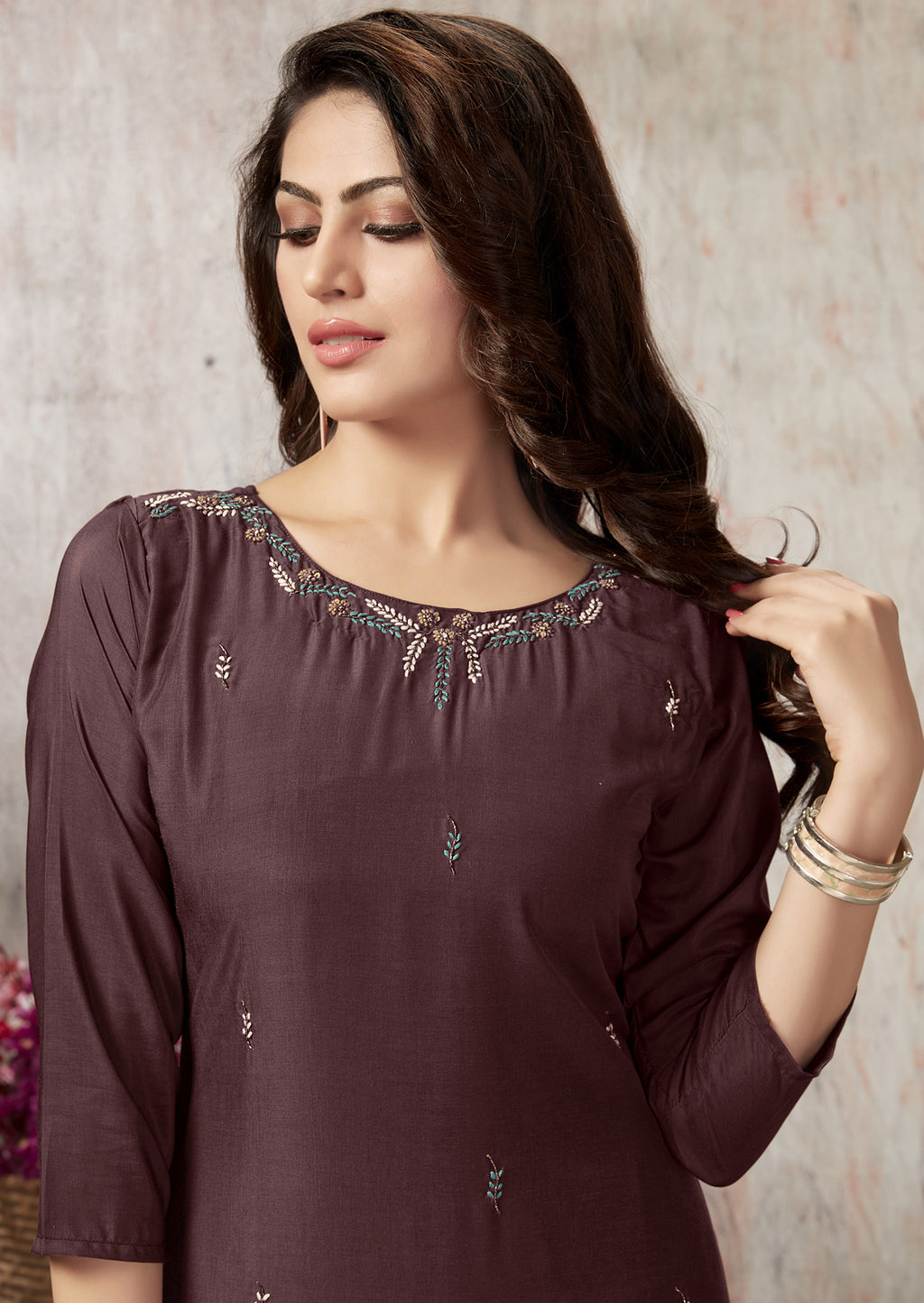 Brown Color Muslin Party Wear Kurti With Bottom NYF-5632