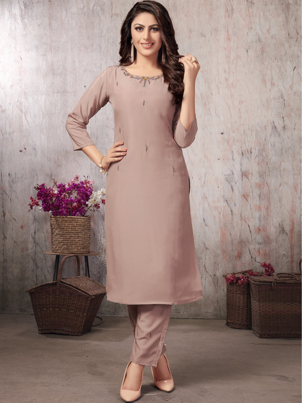Baby Pink Color Muslin Party Wear Kurti With Bottom NYF-5636