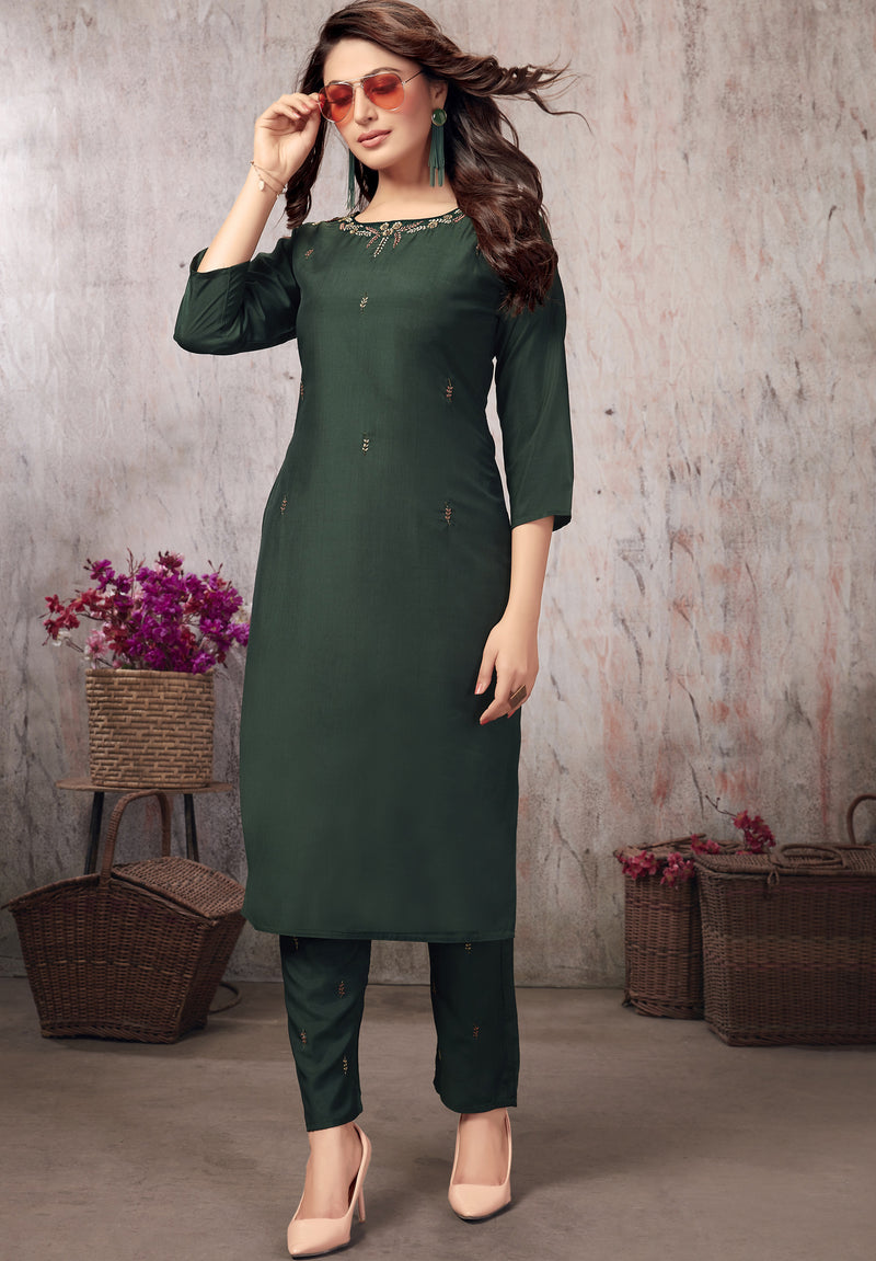 Green Color Muslin Party Wear Kurti With Bottom NYF-5640