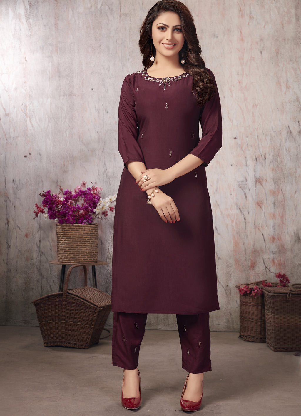 Wine Color Muslin Party Wear Kurti With Bottom NYF-5644