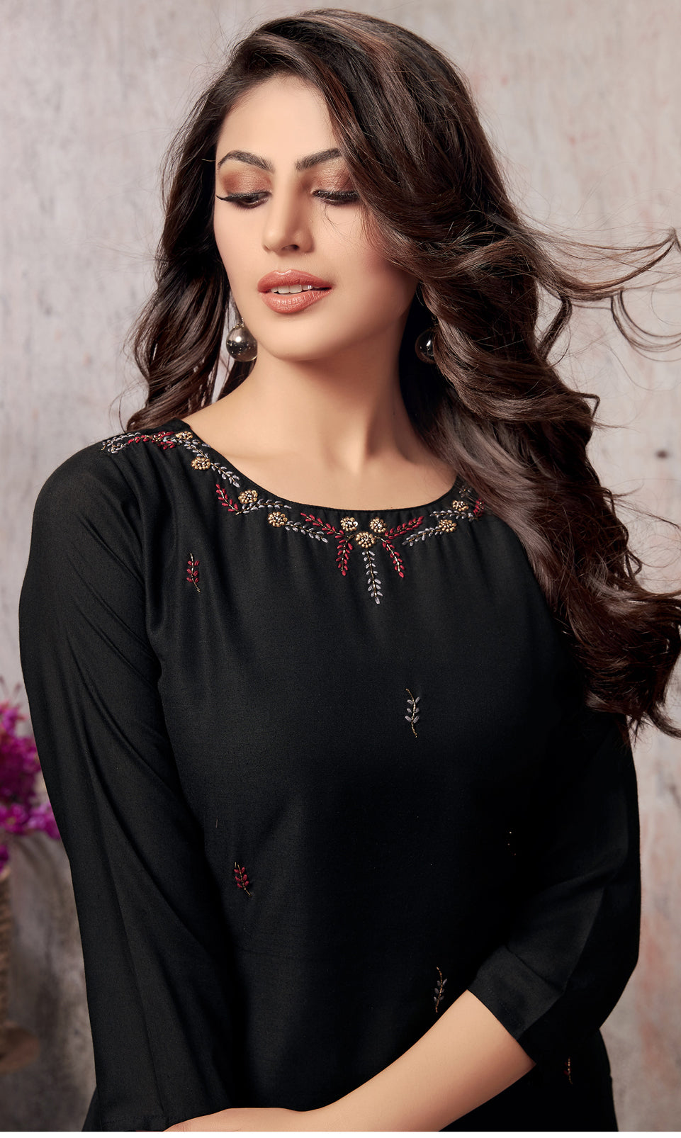 Black Color Muslin Party Wear Kurti With Bottom NYF-5648