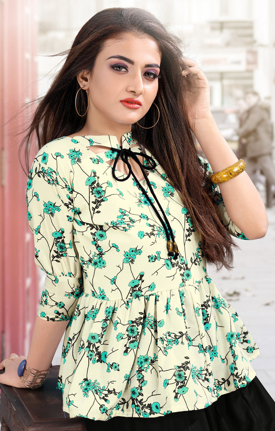 Off-White Color Cotton Casual Short Kurti With Palazzo NYF-5592