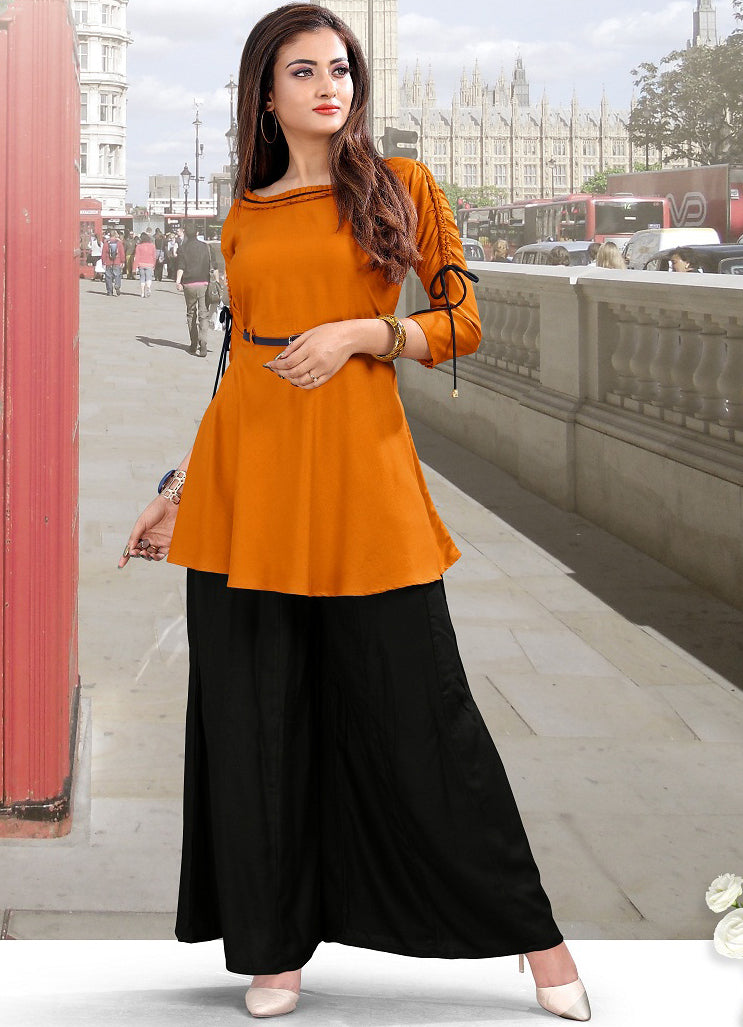 Orange Color Rayon Casual Short Kurti With Palazzo NYF-5597