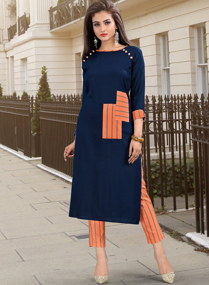 Blue Color Rayon Casual Kurti With Bottom NYF-5607