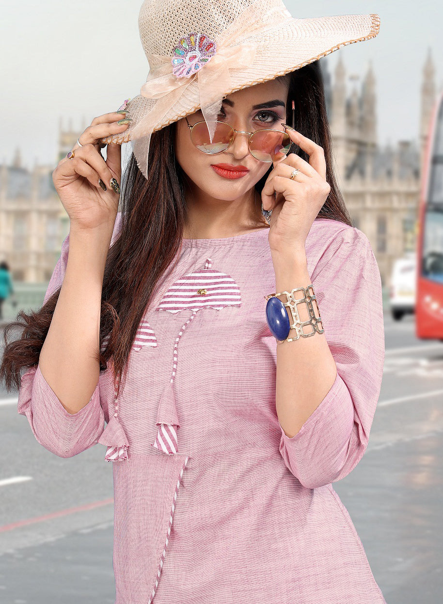 Pink Color Cotton Casual Short Kurti With Bottom NYF-5612