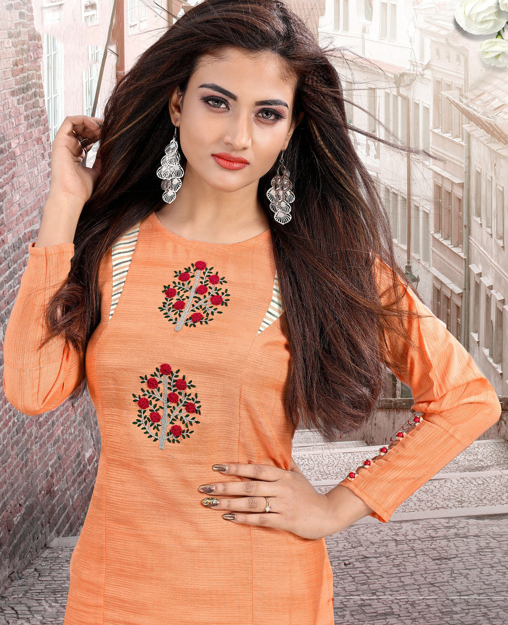 Peach Color Cotton Casual Kurti With Palazzo NYF-5617