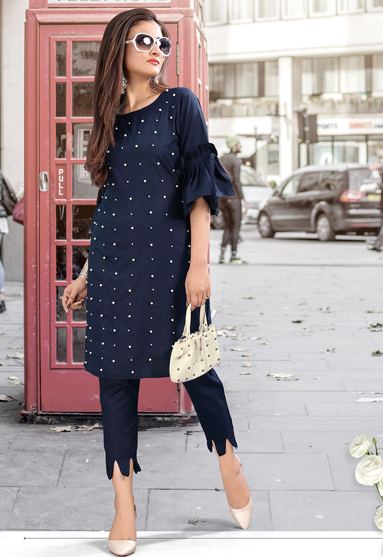 Blue Color Cotton Casual Kurti With Bottom NYF-5622