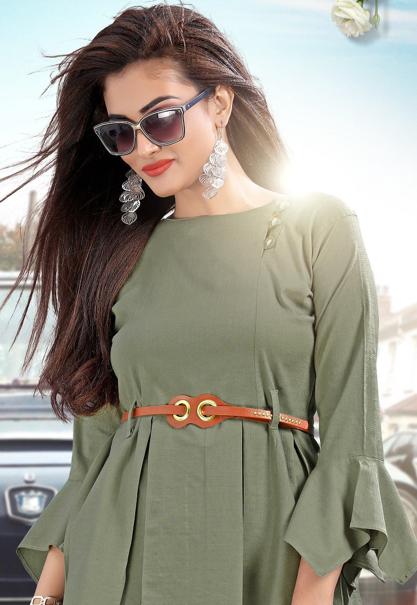 Olive Green Color Rayon Slub Lycra Casual Short Kurti With Bottom NYF-5627
