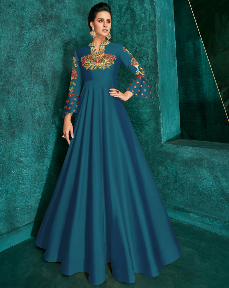 Blue Color Soft Silk Exquisite Festive Gowns NYF-7158